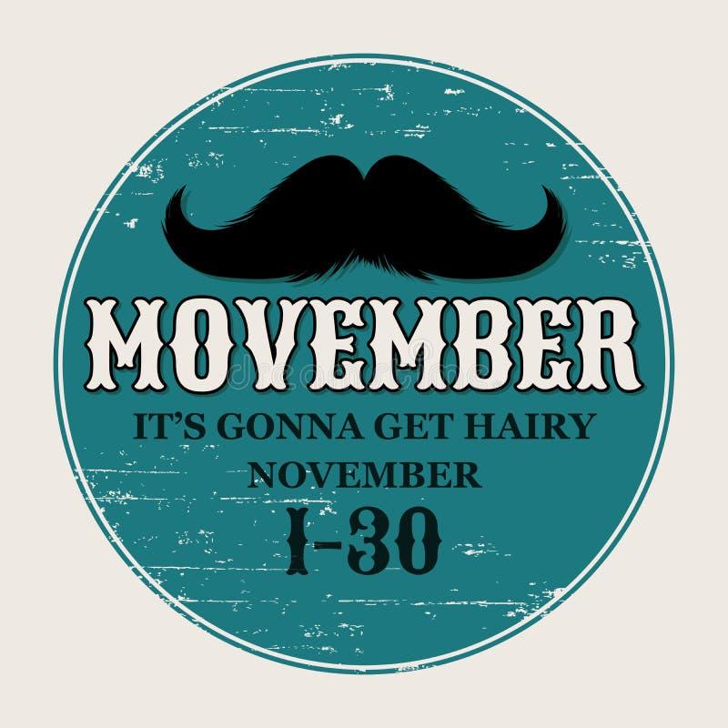 髭Movember海报 围绕或圈子11月挑战的贴纸 黑色被隔绝的剪影和手拉 库存例证