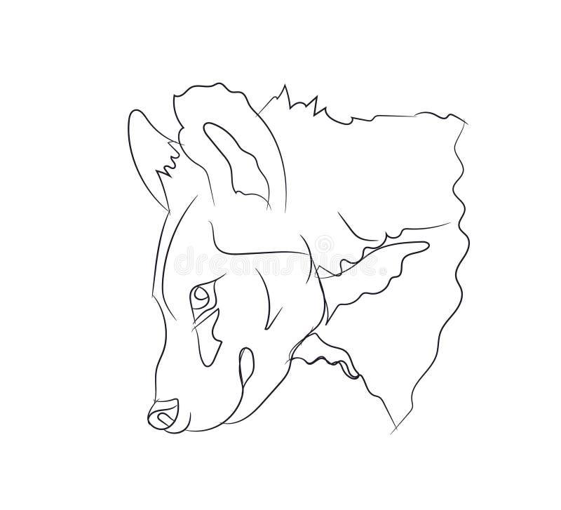 鬣狗画象,线,传染媒介 库存例证