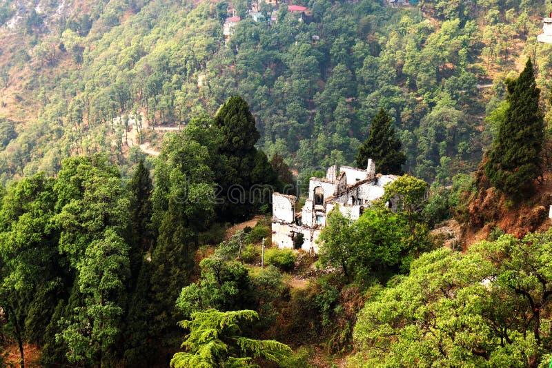 鬼屋在多小山森林里 免版税库存照片