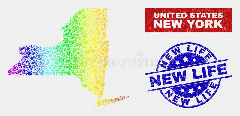 鬼工业纽约州地图和被抓的新的生活邮票 库存例证