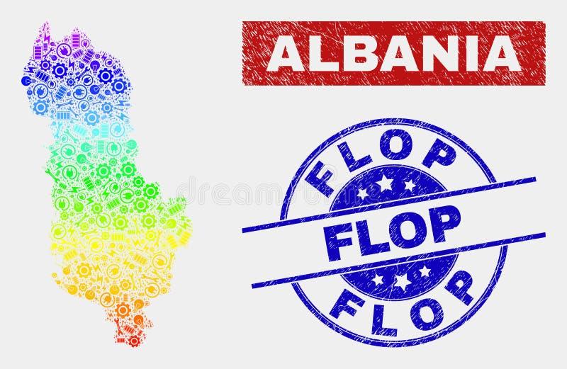 鬼工厂阿尔巴尼亚地图和难看的东西拍击声邮票 向量例证