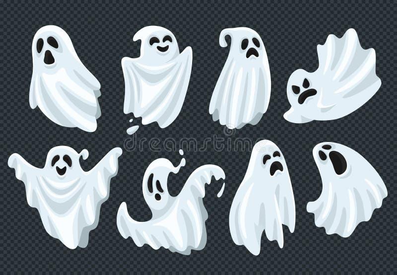 鬼的与可怕面孔的万圣夜鬼魂飞行幽灵精神 在白色织品传染媒介例证集合的鬼的幻象 库存例证