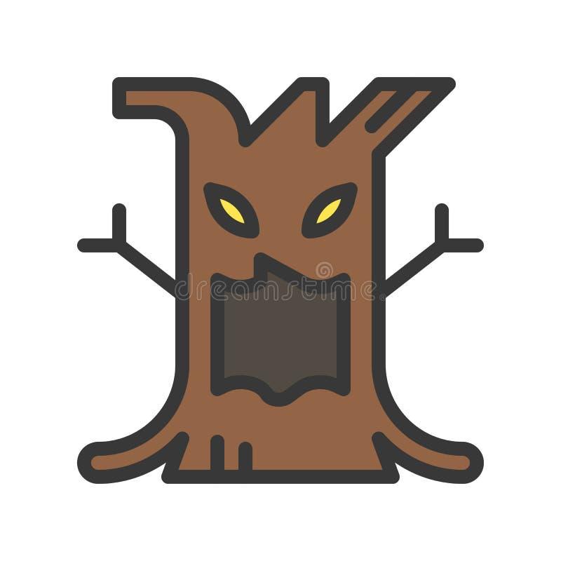 鬼的树万圣节字符设计象,编辑可能的冲程 库存例证