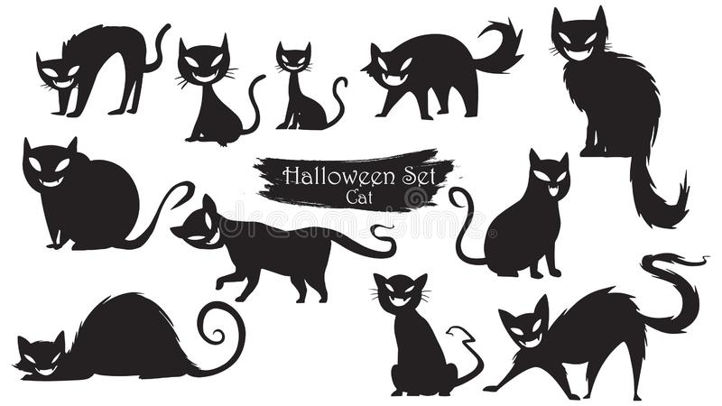 鬼的猫现出轮廓万圣夜传染媒介被隔绝的o的汇集 库存例证
