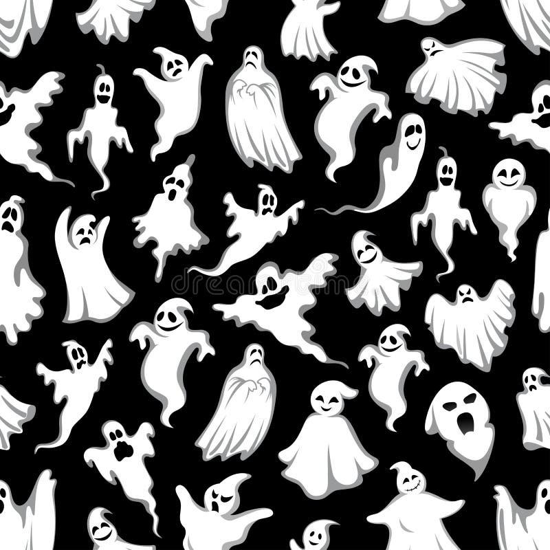 鬼的鬼魂万圣夜假日无缝的样式 向量例证