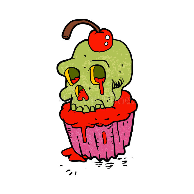鬼的头骨杯形蛋糕动画片 皇族释放例证