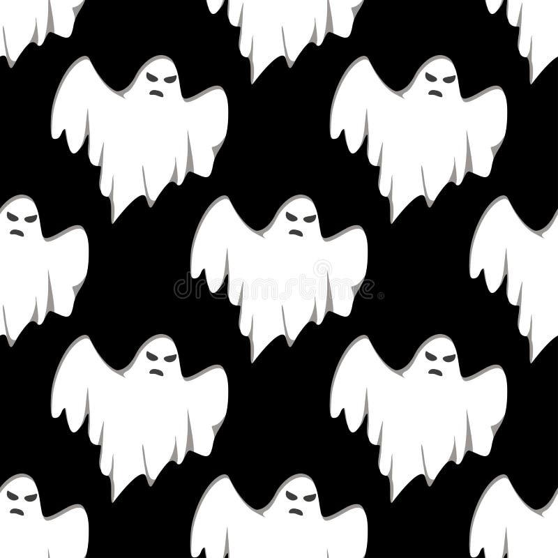 鬼魂万圣夜无缝的样式 向量例证