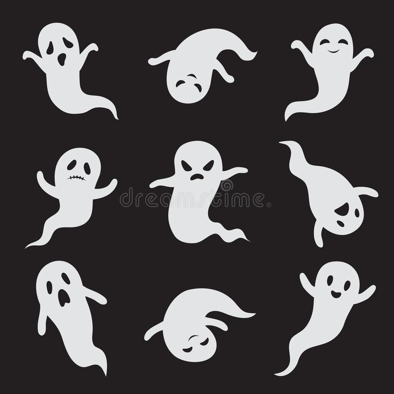 鬼魂万圣夜鬼的面孔 鬼的妖怪传染媒介被隔绝的象 向量例证