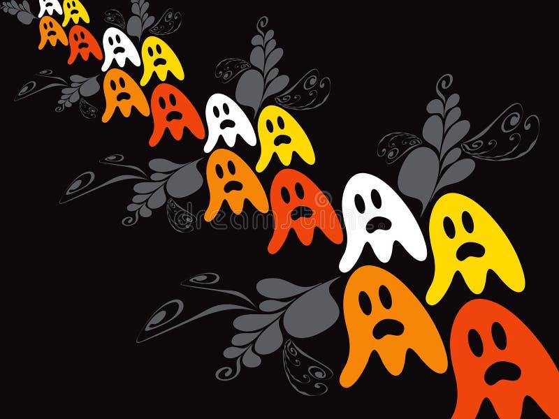 鬼魂万圣节橙色减速火箭 库存例证