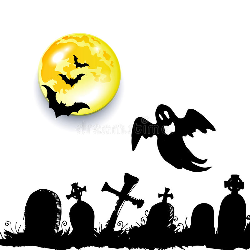 鬼魂传染媒介万圣夜鬼的例证动画片恐惧 库存例证