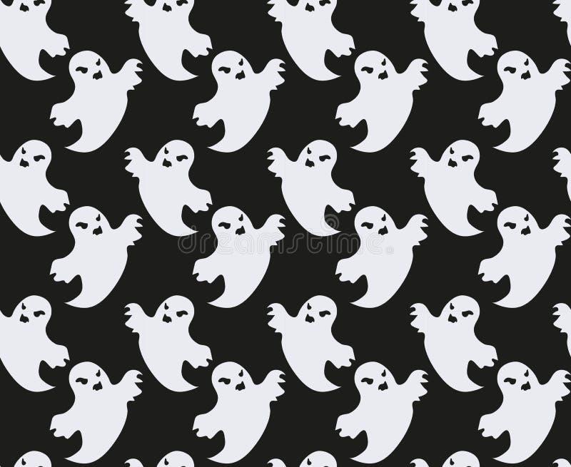 鬼魂例证模式无缝的向量 重复纹理的可怕精神 万圣夜不尽的背景 也corel凹道例证向量 库存例证