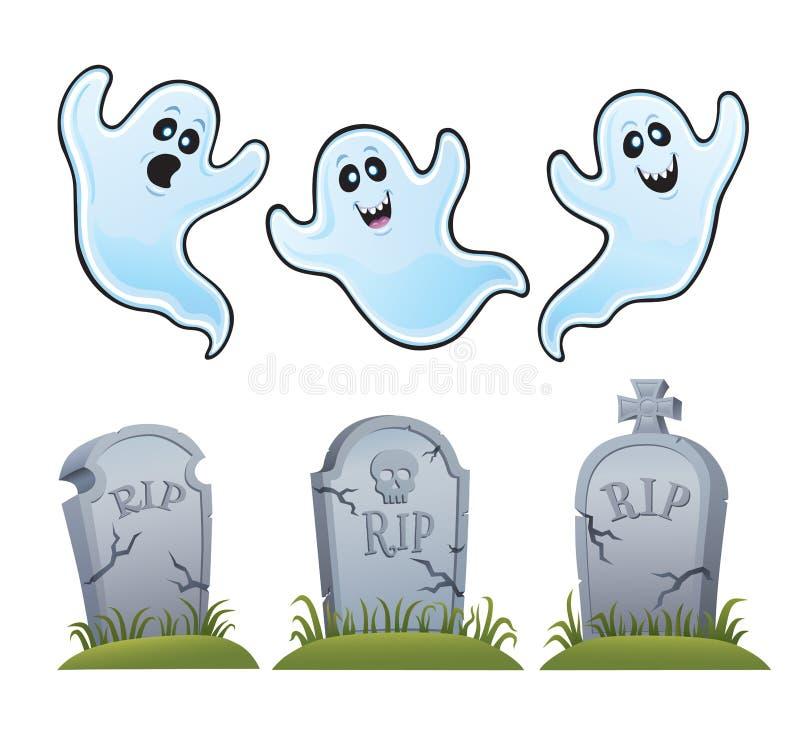 鬼魂和墓碑 库存例证