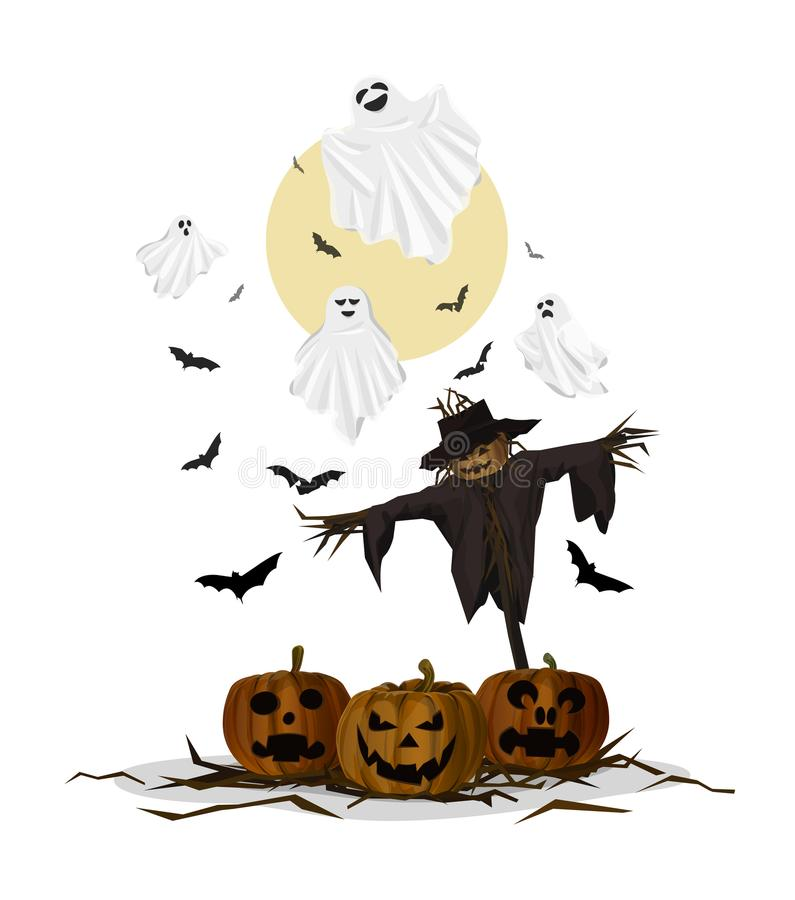 鬼魂和稻草人万圣夜 向量例证