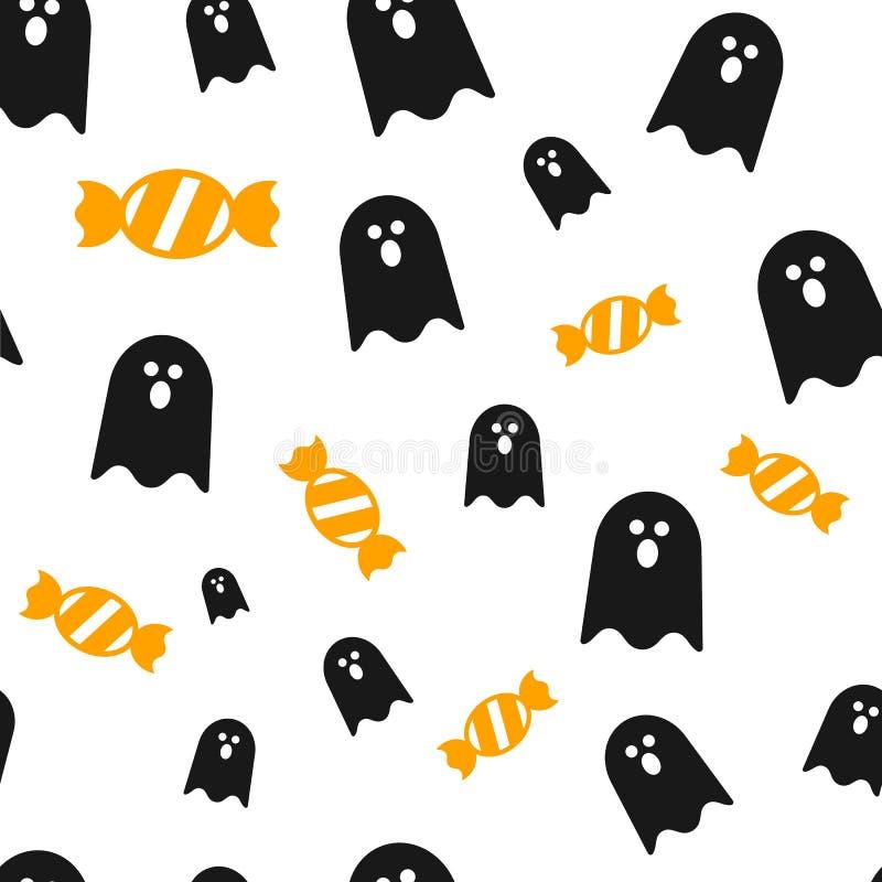 鬼魂和糖果,万圣夜无缝的样式背景il 库存例证