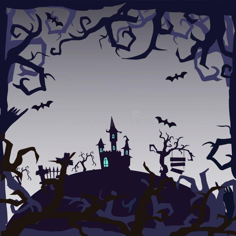 鬼魂城堡-万圣夜背景 库存照片
