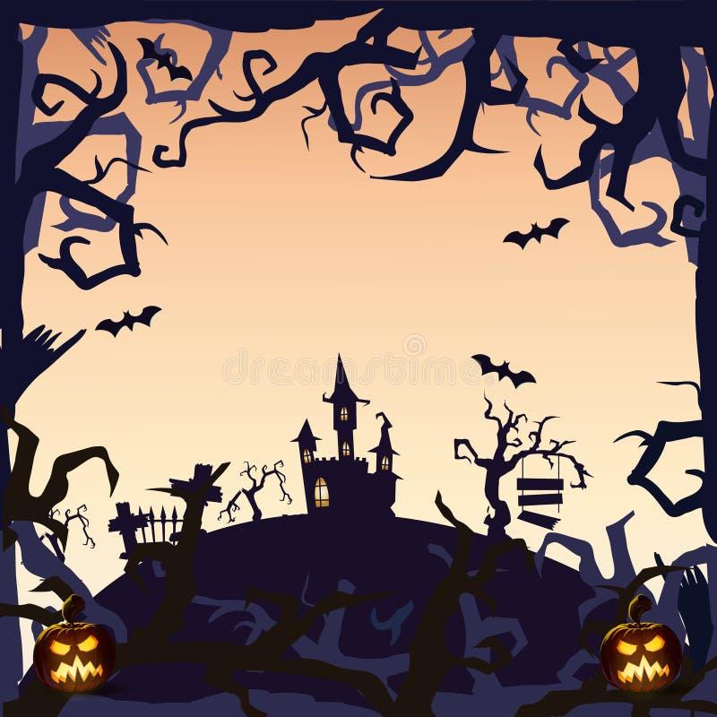 鬼魂城堡-万圣夜背景 免版税图库摄影