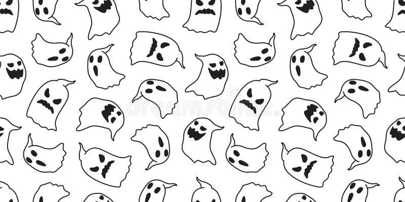 鬼魂无缝的样式万圣夜传染媒介隔绝了鬼的动画片墙纸背景例证乱画白色 向量例证