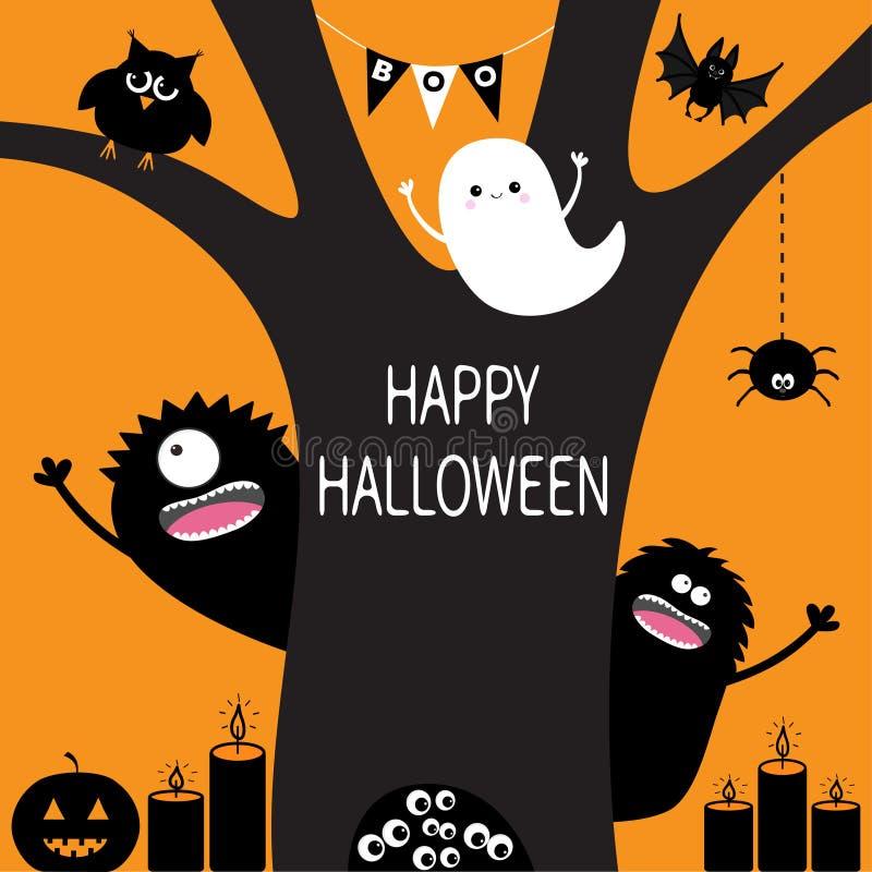 鬼魂,南瓜,蜘蛛,妖怪,蜡烛,猫头鹰,在凹陷的眼睛眼珠 黑色剪影结构树 旗布旗子作嘘声鬼的逗人喜爱的动画片 皇族释放例证