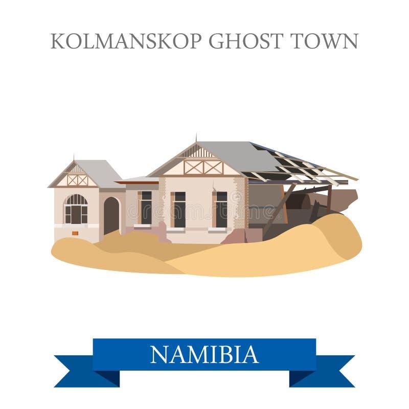 鬼魂kolmanskop纳米比亚城镇 平的传染媒介illu 向量例证