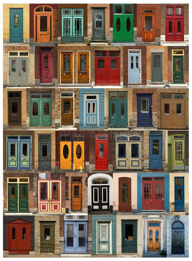 从魁北克市的门拼贴画在加拿大 免版税图库摄影