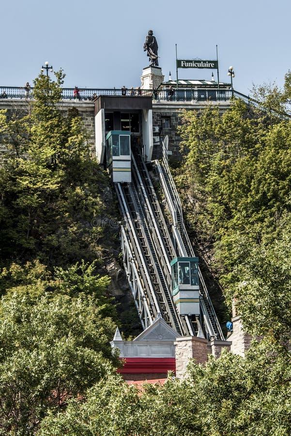 魁北克市,加拿大13 09 217个老缆索铁路的链接上部镇更低的镇缆车联合国科教文组织世界遗产名录站点 库存图片