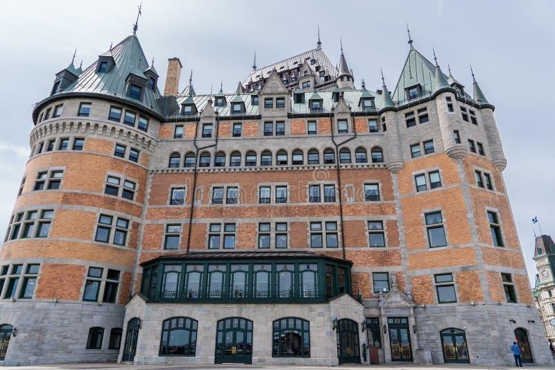 魁北克市,加拿大- 2018年5月19日:芳堤娜城堡 其中一家加拿大的盛大铁路旅馆 免版税库存图片