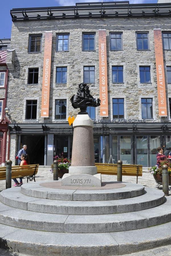 魁北克, 6月28日:从地方Royale的LouisXIV胸象从老魁北克市在加拿大 免版税图库摄影