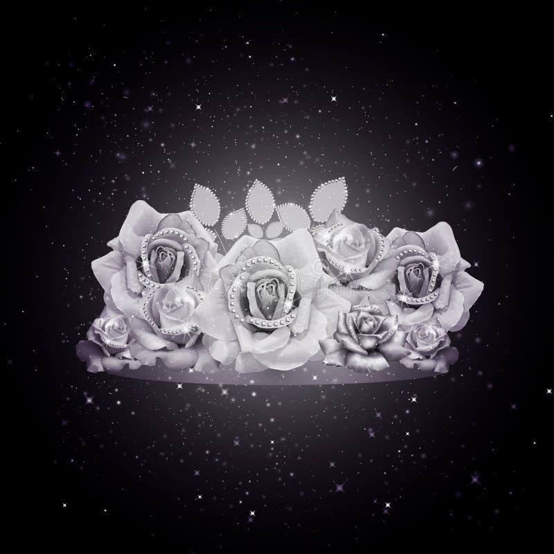 魅力白玫瑰黑背景 向量例证