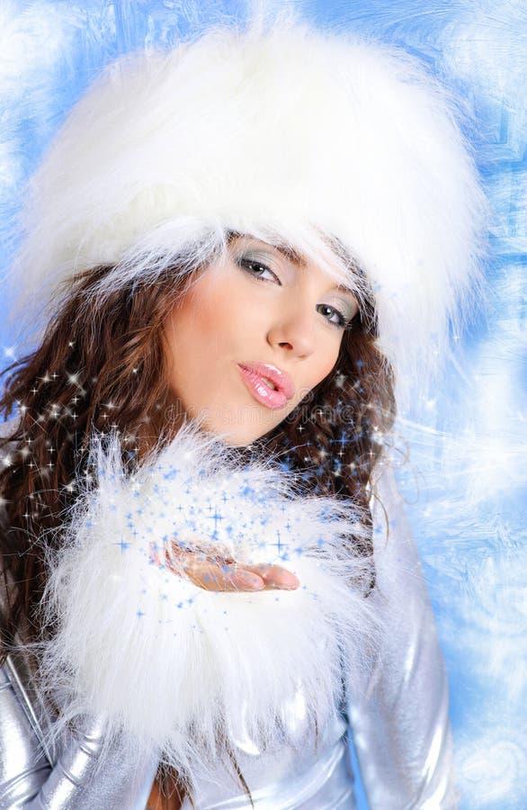 魅力纵向冬天妇女 库存照片