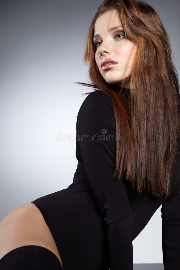 魅力纵向性感的妇女 库存图片