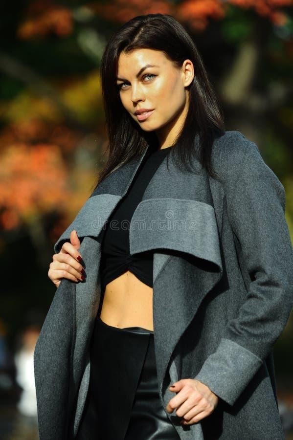 魅力肉欲的年轻时髦的夫人室外时尚画象穿时髦秋天服装的 库存照片