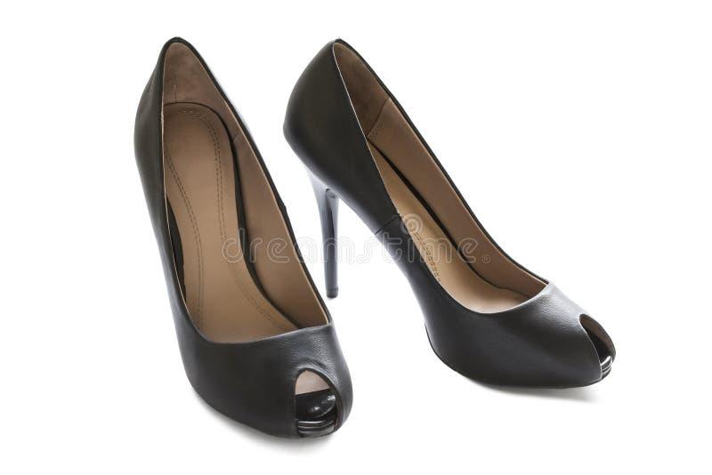 魅力黑鞋子 免版税图库摄影