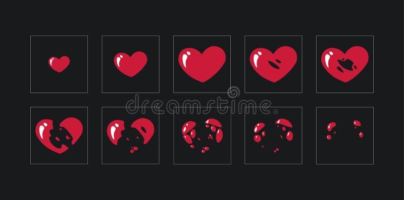 魍魉板料,心脏的爆炸 比赛或动画片的动画 向量例证
