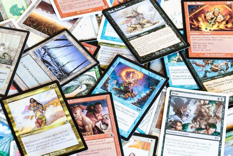 魔术各种各样的卡片会集的棋 免版税库存图片
