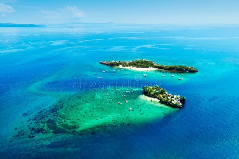 魔术和鳄鱼海岛,菲律宾鸟瞰图  图库摄影