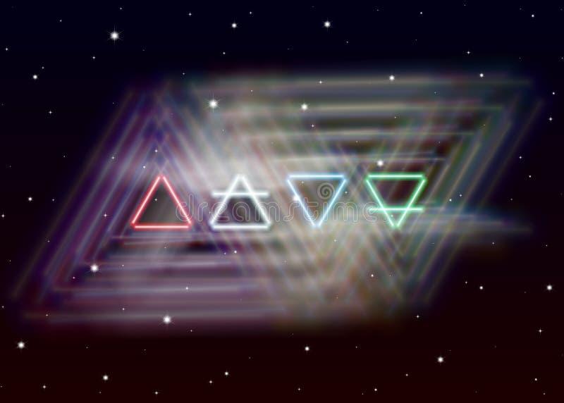 魔术四元素标志传播在精神空间的神秘的发光的能量 地球、空气、火和水 库存例证