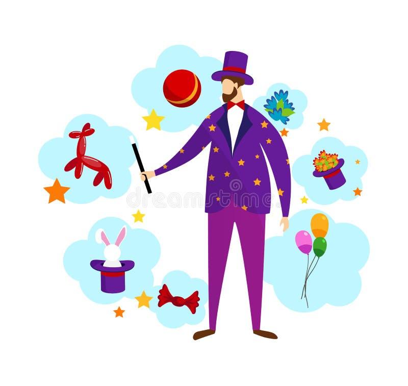 魔术师佩带的服装和高顶丝质礼帽藏品鞭子 向量例证