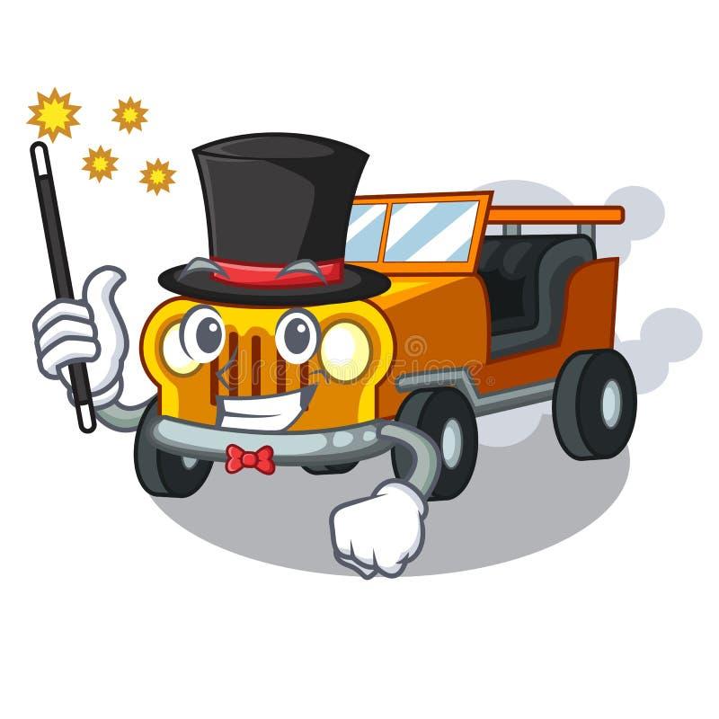 魔术师吉普在前面赦免的动画片汽车 库存例证