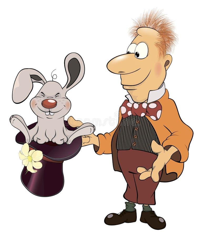 魔术师和兔子动画片的耳朵倒酒精进蚊子杀例证图片
