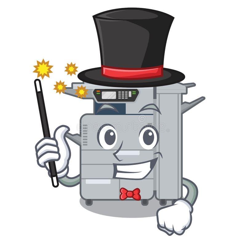 魔术师在字符椅子旁边的影印机机器 库存例证