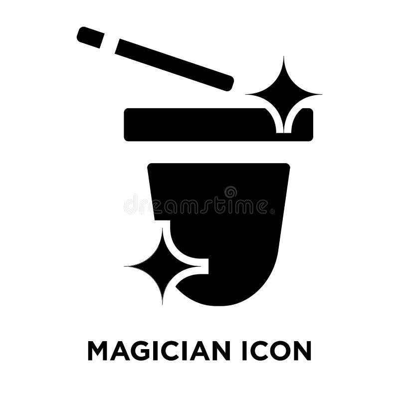 魔术师在白色背景隔绝的象传染媒介,商标概念 库存例证