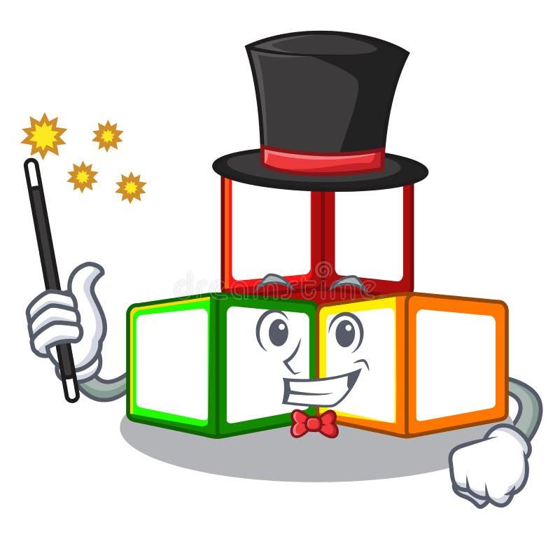 魔术师在立方体箱子吉祥人的玩具块 皇族释放例证