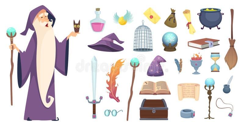 魔术师工具 巫术师不可思议的奥秘笤帚魔药巫婆帽子和咒语书传染媒介动画片图片 皇族释放例证