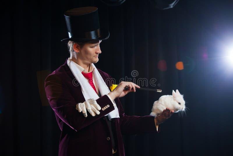 魔术师用兔子,变戏法者人,滑稽的人,不可思议,在黑背景的幻觉 免版税库存图片