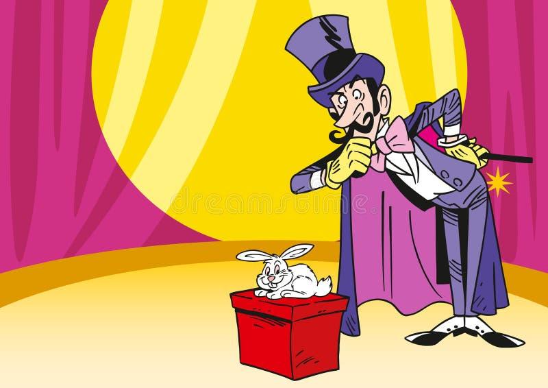 魔术师用兔子 向量例证
