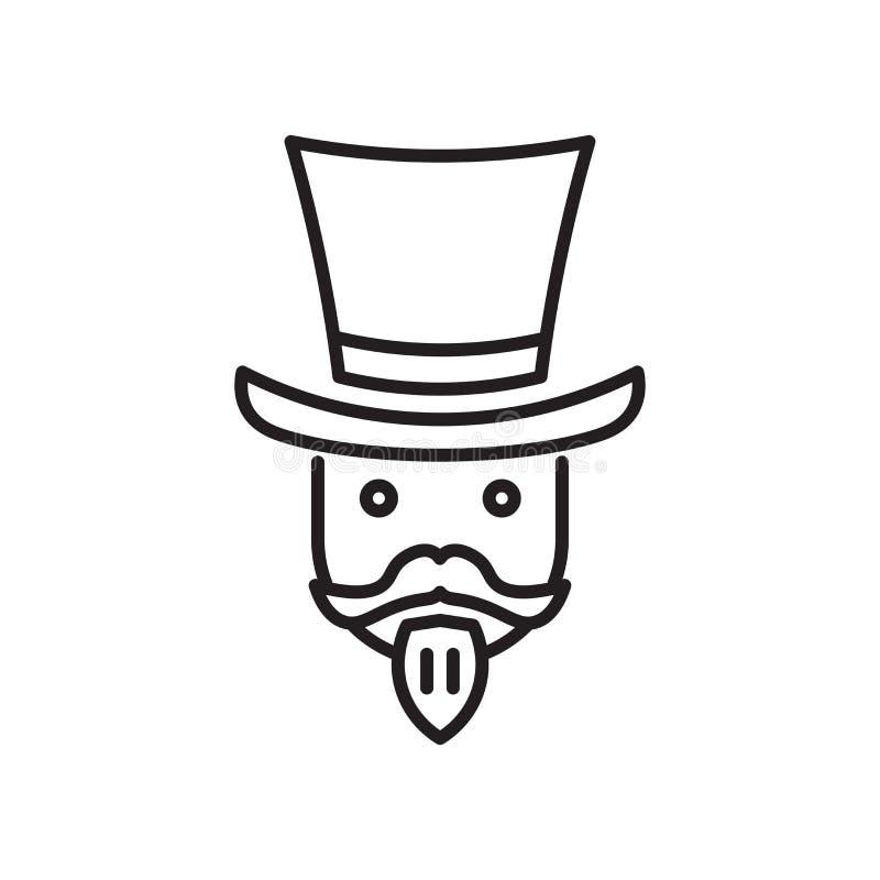魔术师象在白色背景和标志隔绝的传染媒介标志,魔术师商标概念 皇族释放例证
