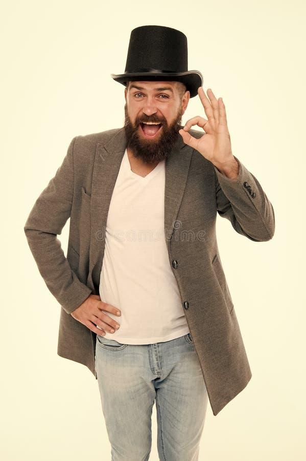 魔术师马戏工作者 人有胡子的人快乐的面孔解决问题作为魔术师 魔术师字符 想要一些魔术 库存照片