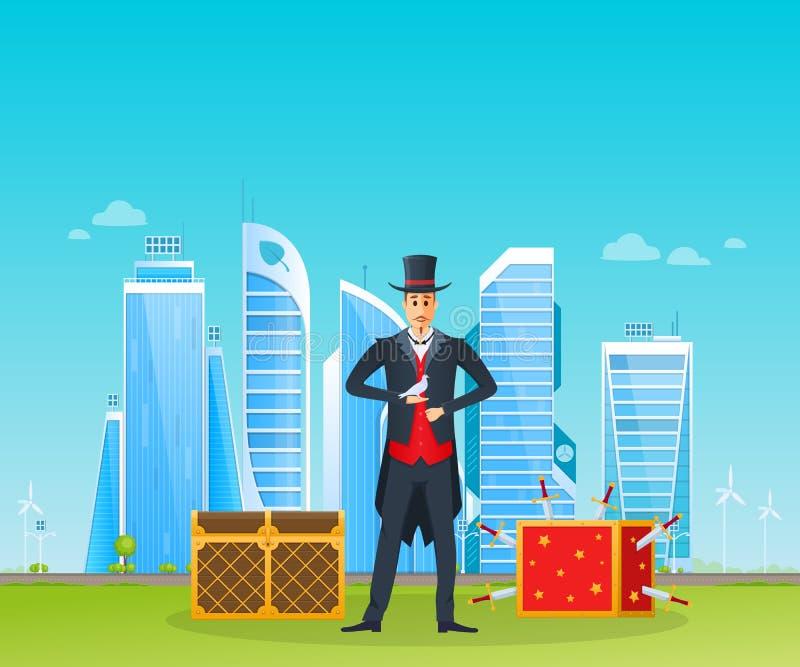 魔术师,魔术师,现代大厦背景的,环境友好的城市 库存例证