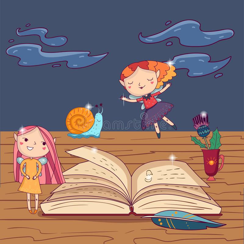 魔术开放书、翎毛钢笔和杯子有花的在木桌上 有翼的,一点幻想字符逗人喜爱的女孩神仙 皇族释放例证