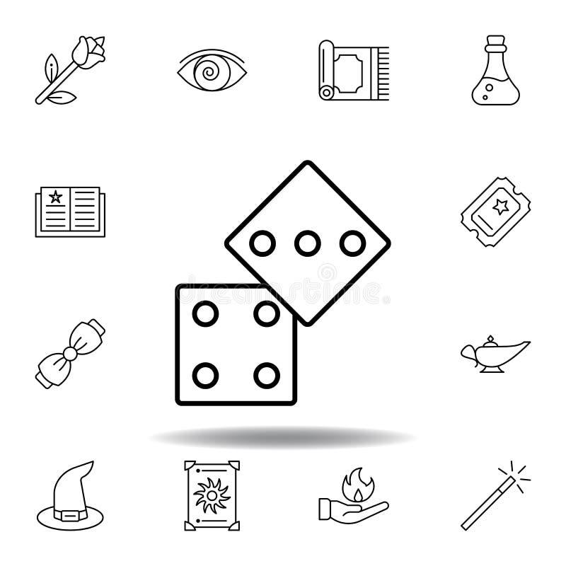 魔术把概述象切成小方块 不可思议的例证线象的元素 标志,标志可以为网,商标,流动应用程序,UI,UX使用 皇族释放例证